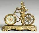 British United Clock Co. Cast Brass Bicycle Clock
