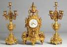 French Gilt Bronze 3 Piece Clock Set
