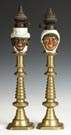 Bisque Peg Lamps w/Brass Candlesticks