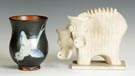 Art Pottery: Austrian Vase & French Cow Sculpture