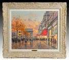 Jean Salabet (French, 20th cent.) Street scene sunset