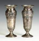 Pair of Sterling Silver Vases