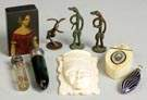 Group of Bronze Figures, Scent Bottles, Ivory Carving, etc.