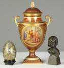 Enameled Egg, Vienna Urn & Bronze Head
