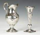 Coin Silver Water Pitcher & Sterling Vase