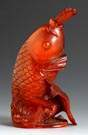 Carved Amber Koi Snuff Bottle
