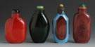 4 Cased Glass Snuff Bottles
