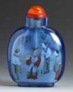 Chinese Inside Painted Blue Glass Snuff Bottle