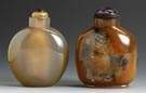 Two Agate Flattened Round Snuff Bottles