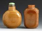Two Brown Glass Snuff Bottles