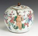 Chinese Famille Porcelain Covered Jar w/Enameled Figures