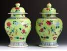 Pair of Chinese Incised & Painted Temple Jars