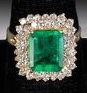 14K Gold, Emerald & Diamond Ring