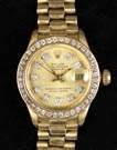 Rolex Oyster Perpetual Date Just 18K & Diamond Ladies Watch
