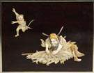 3 Ivory & Mother of Pearl Carvings on Lacquered Panels