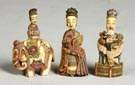Three Carved Ivory & Polychrome Figural Snuff Bottles