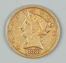 1880 Liberty Five Dollar Gold Coin