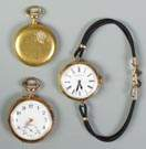 Two Pocket Watches and One Wrist Watch