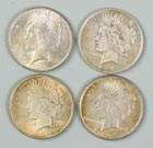Four One Dollar Liberty Coins