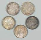 Five One Dollar Morgan Coins