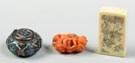 Silver & enameled pill box; carved coral creature; ivory seal.