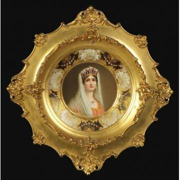 "Rosenthal Hand Painted & Enameled Portrait Plate of ""Josephine"" in a Gilt Wood Frame"