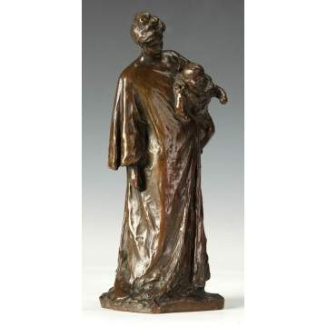 Bessie Potter Vonnoh (American, 1872-1955)  Bronze of a Mother & Child