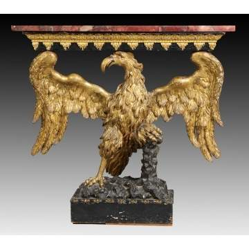 Early 19th Cent. Carved & Gilt Wood Eagle Console Table w/Marble Top