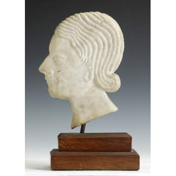 Carved Marble Art Deco Head