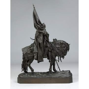 Evgenii Lanceray (Russian, 1848-1886) Bronze Group of a Bogatyr (Ilya Muromets)
