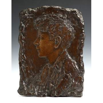 Bessie Potter Vonnoh (American, 1872-1955) Bronze Plaque of a Young Boy