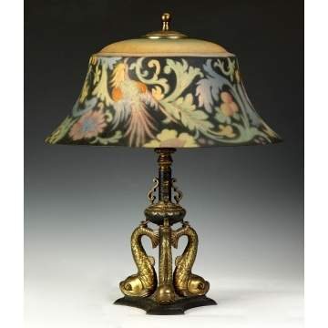 Pairpoint Bird of Paradise Reverse Painted Lamp