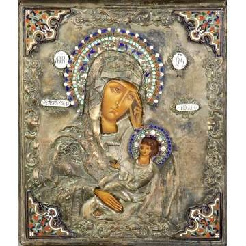 Russian Silver, Hand Painted & Enameled Icon