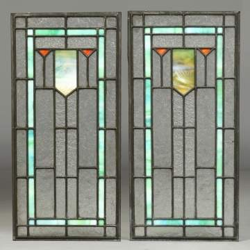 Pair Of Leaded Arts & Crafts Windows