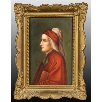 Painting on Porcelain of Lady in Red Robe
