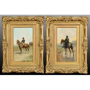 Sebastiano Panuzi (Italian, Born 1845) Pair of Paintings; Military Figures on Horseback