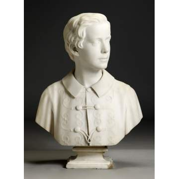 Hiram Powers (American, 1805-1873) Marble Bust with Period Pedestal