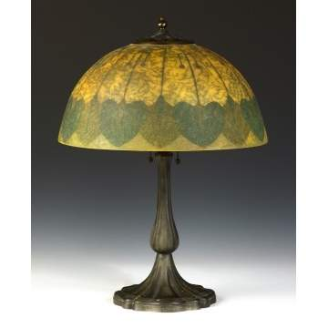 Handel Lamp with Obverse Painted & Etched Shade