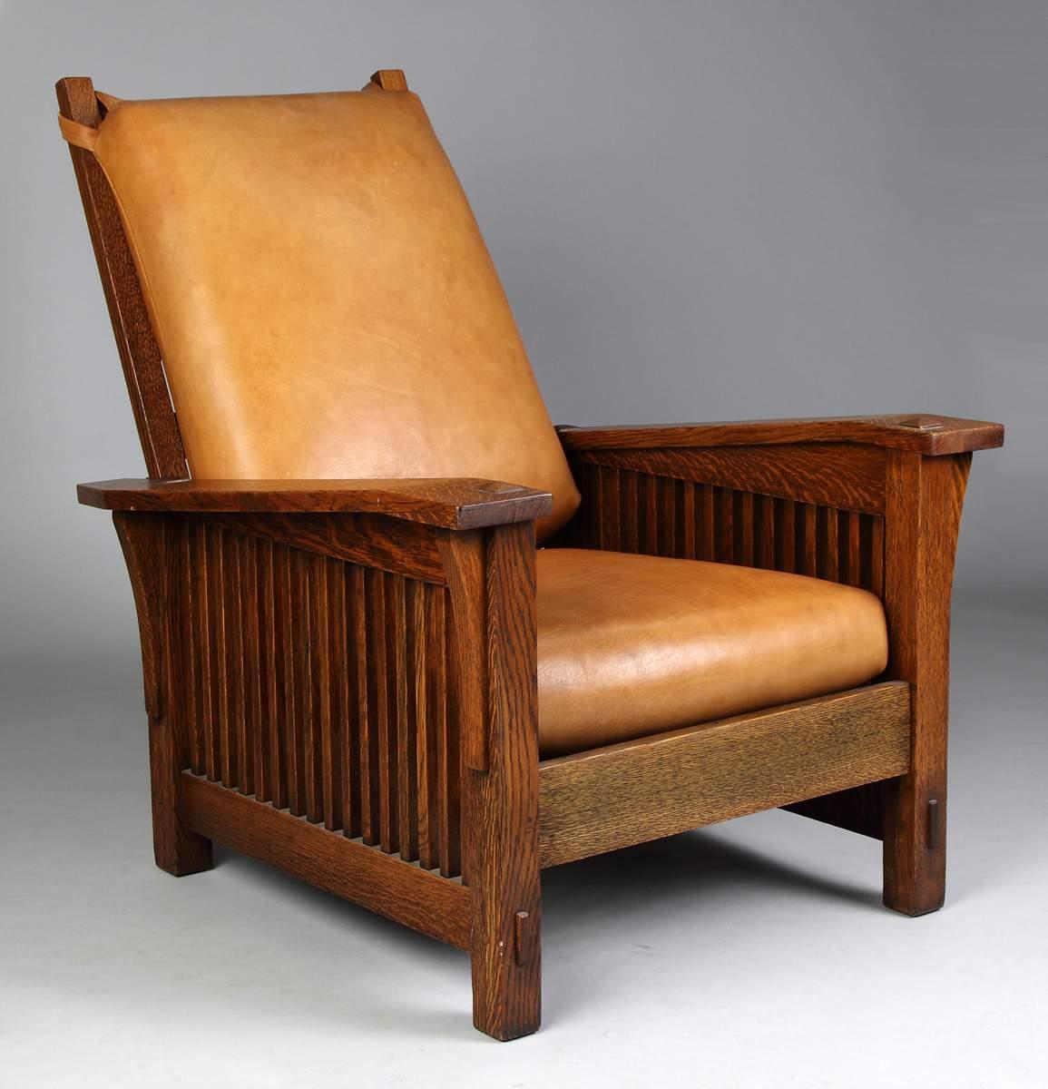Gustav Stickley Oak Drop Arm, Spindle Morris Chair