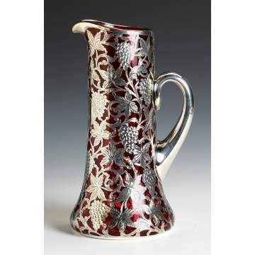 Cranberry Glass Presentation Pitcher with Gorham Sterling Mounts