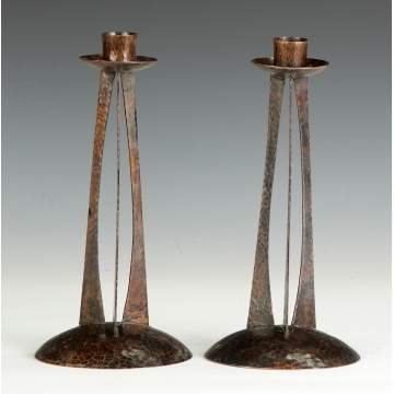 Pair of Roycroft, Unusual Hand Hammered Copper Candlesticks