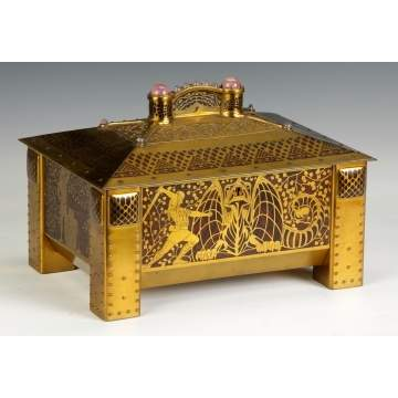 Brass Jewelry Casket with Walnut Burl and Jeweled Handles