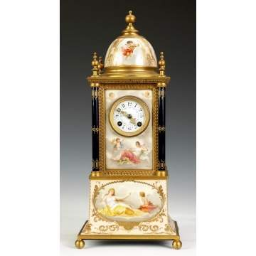 Fine Royal Vienna Porcelain & Brass Clock