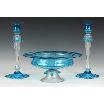 Steuben Celeste Blue & Clear Mica Fleck Glass Compote & Matching Candlesticks