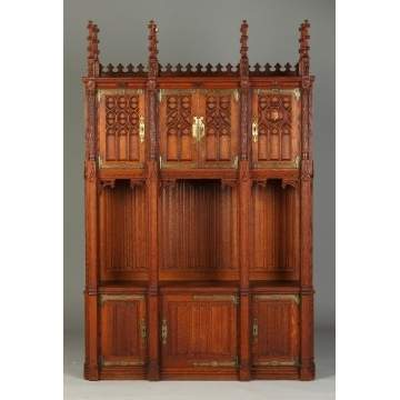 Rare American Gothic Carved Oak Side Cabinet, NY
