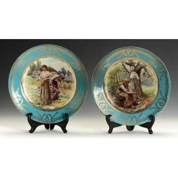Pair of Royal Vienna Transfer and Hand Painted Plates