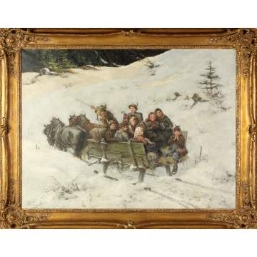 Albert Muller-Lingke (German, 1844-1930) Winter Sleigh Ride