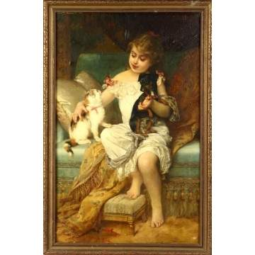 Emile Munier (French, 1840-1895) Girl w/kitten and puppy