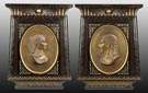 NY Egyptian Revival Ebonized and Gilded Wall Plaques