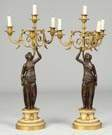 A Pair of Gilt Bronze & Marble Candelabras